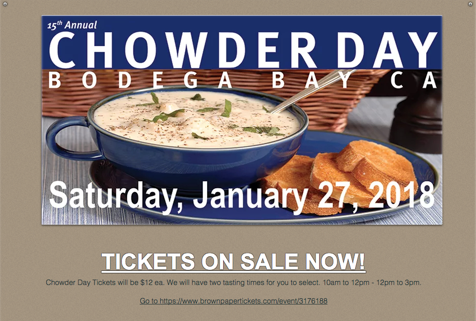 Chowder Day January 27th @ Bodega Bay, CA | Bodega Bay | California | United States