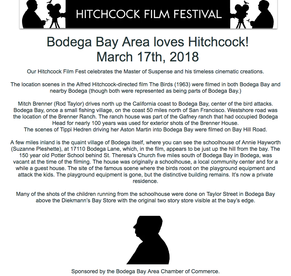 Bodega Bay Area loves Hitchcock! March 17th, 2018