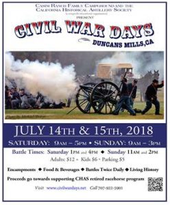 Civil War Days - Duncans Mills - July 14th-15th @ Duncans Mills CA