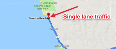 Highway 1 to temporarily lose traffic lane at Gleason Beach due to eroding cliff edge